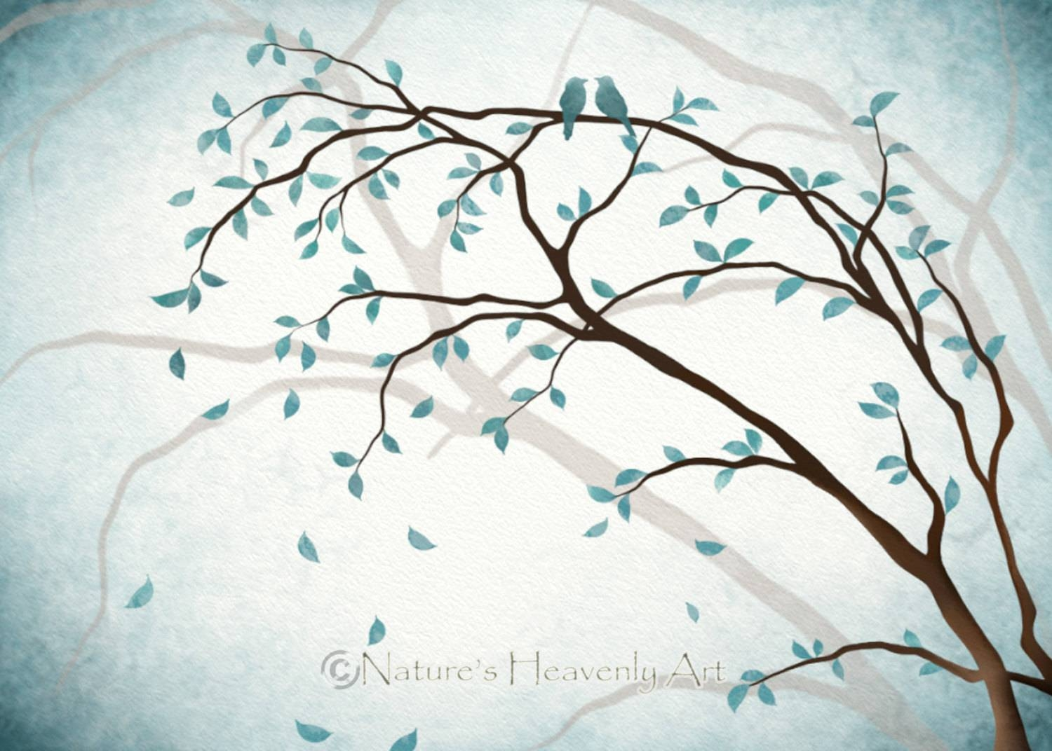 Romantic Love Bird Wall Art 5 X 7 Print Nature Inspired Blue Regarding Newest Tree Branch Wall Art (Gallery 13 of 20)