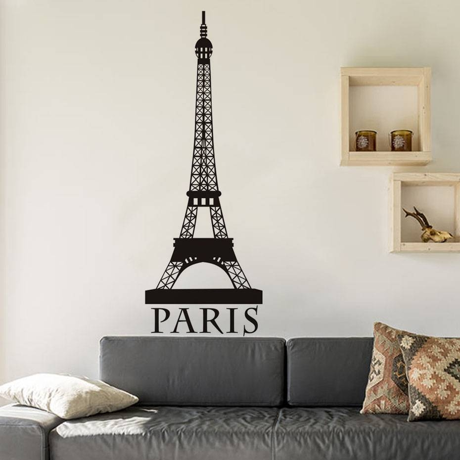 Romantic Paris Eiffel Tower Wall Art Wall Sticker For Living Room With Regard To Current Eiffel Tower Wall Art (View 20 of 20)
