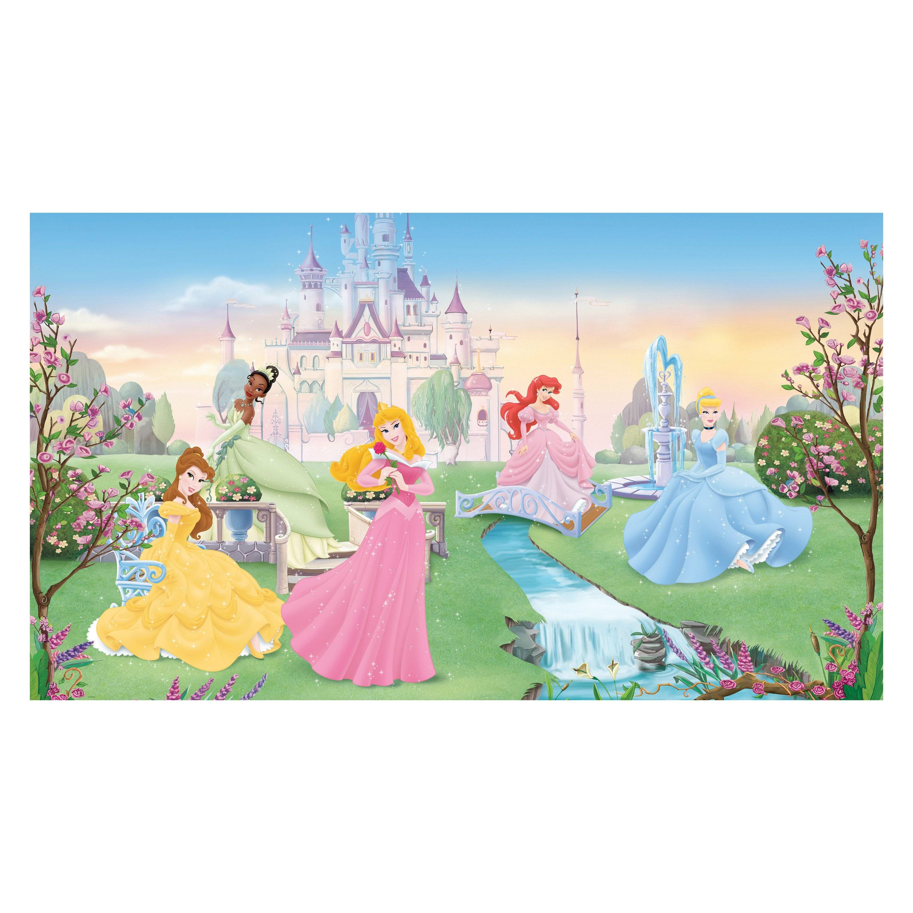 Roommates Dancing Princess Chair Rail Mural | Hayneedle Regarding Most Recently Released Disney Princess Framed Wall Art (View 12 of 20)