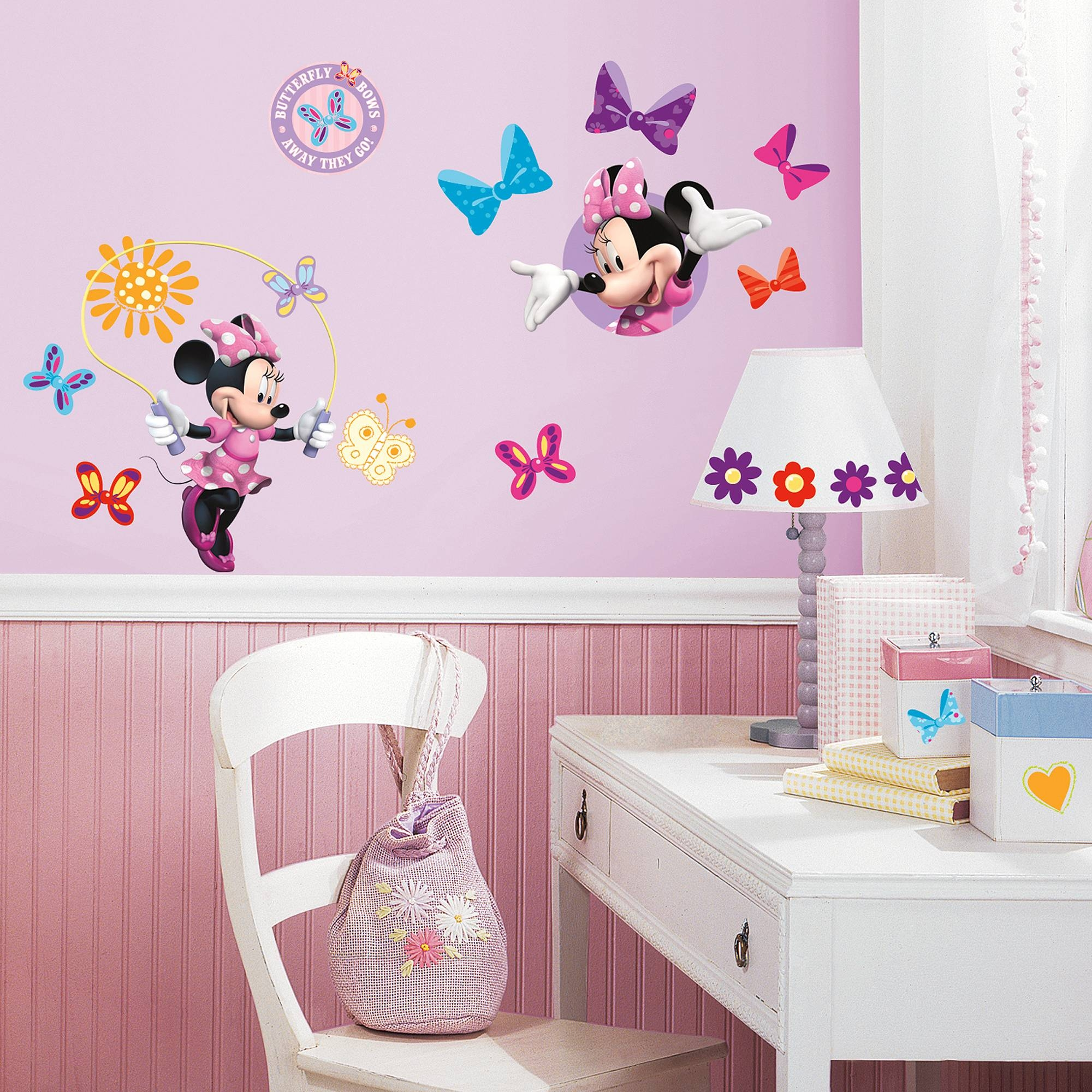 Roommates Mickey And Friends Minnie Bow Tique Peel And Stick Wall With Latest 3d Wall Art Walmart (View 13 of 20)