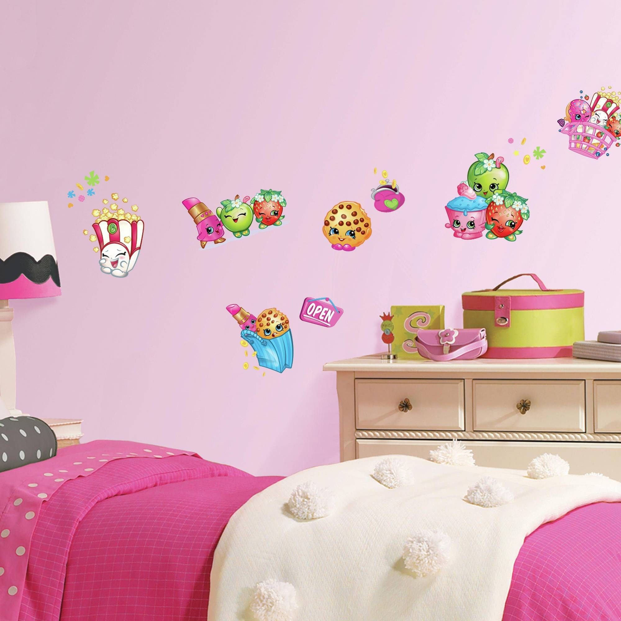 Roommates Shopkins Peel And Stick Wall Decals – Walmart For Most Recent Preschool Classroom Wall Decals (View 21 of 30)