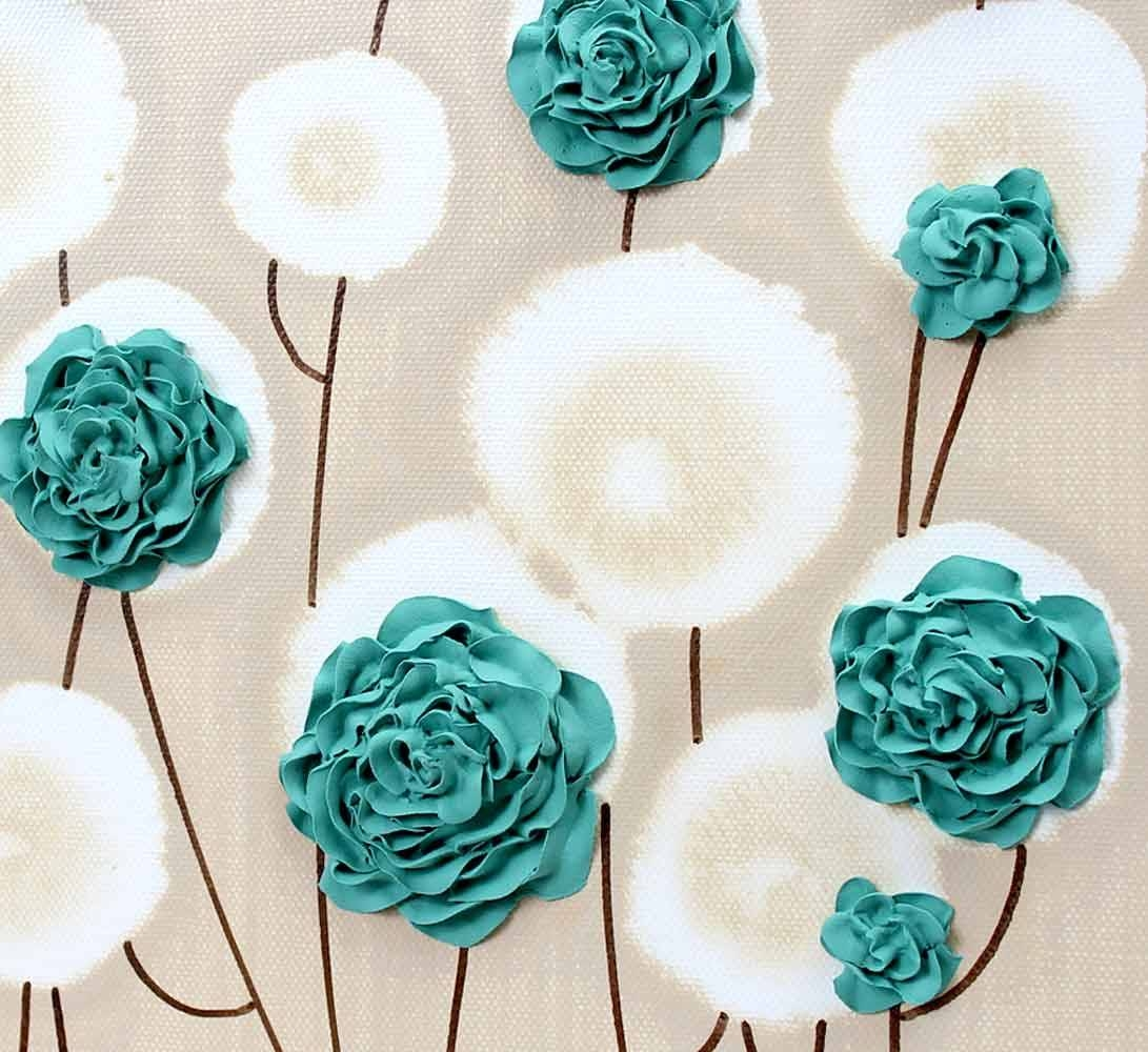 Rose Canvas Wall Art Textured Painting Teal And Khaki – Small Within Most Recently Released Country Canvas Wall Art (Gallery 12 of 20)