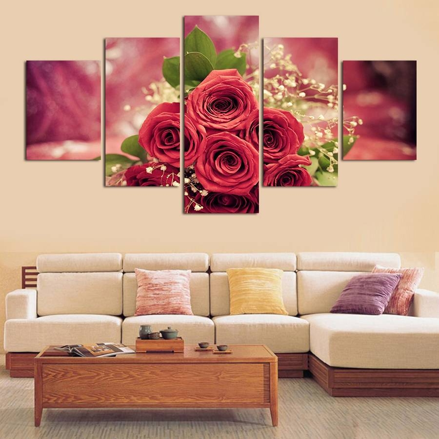 Rose Wall Painting 5pcs Wall Art Abstract Red Rose Flower Modern For 2018 Red Rose Wall Art (Gallery 16 of 20)