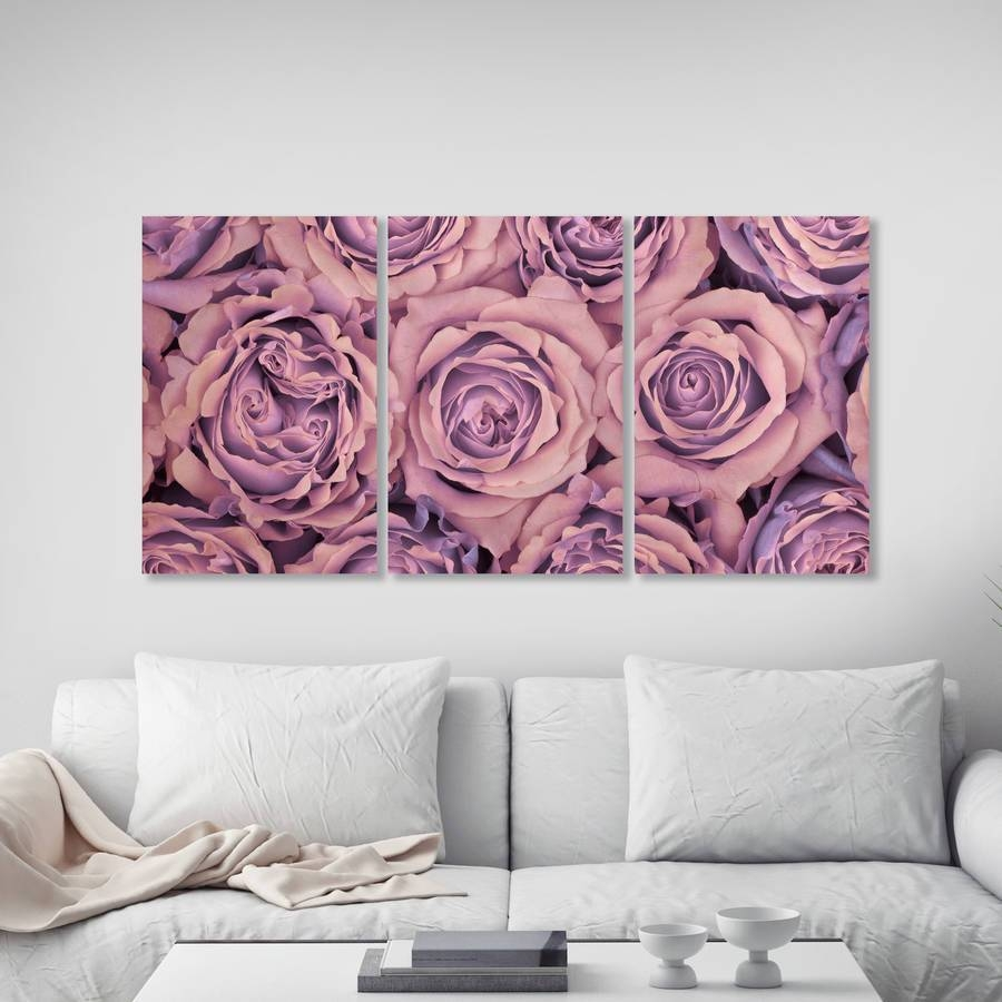 Roses Triptych Canvas Wall Artta Dah Wall Art Within 2018 Rose Canvas Wall Art (Gallery 4 of 20)