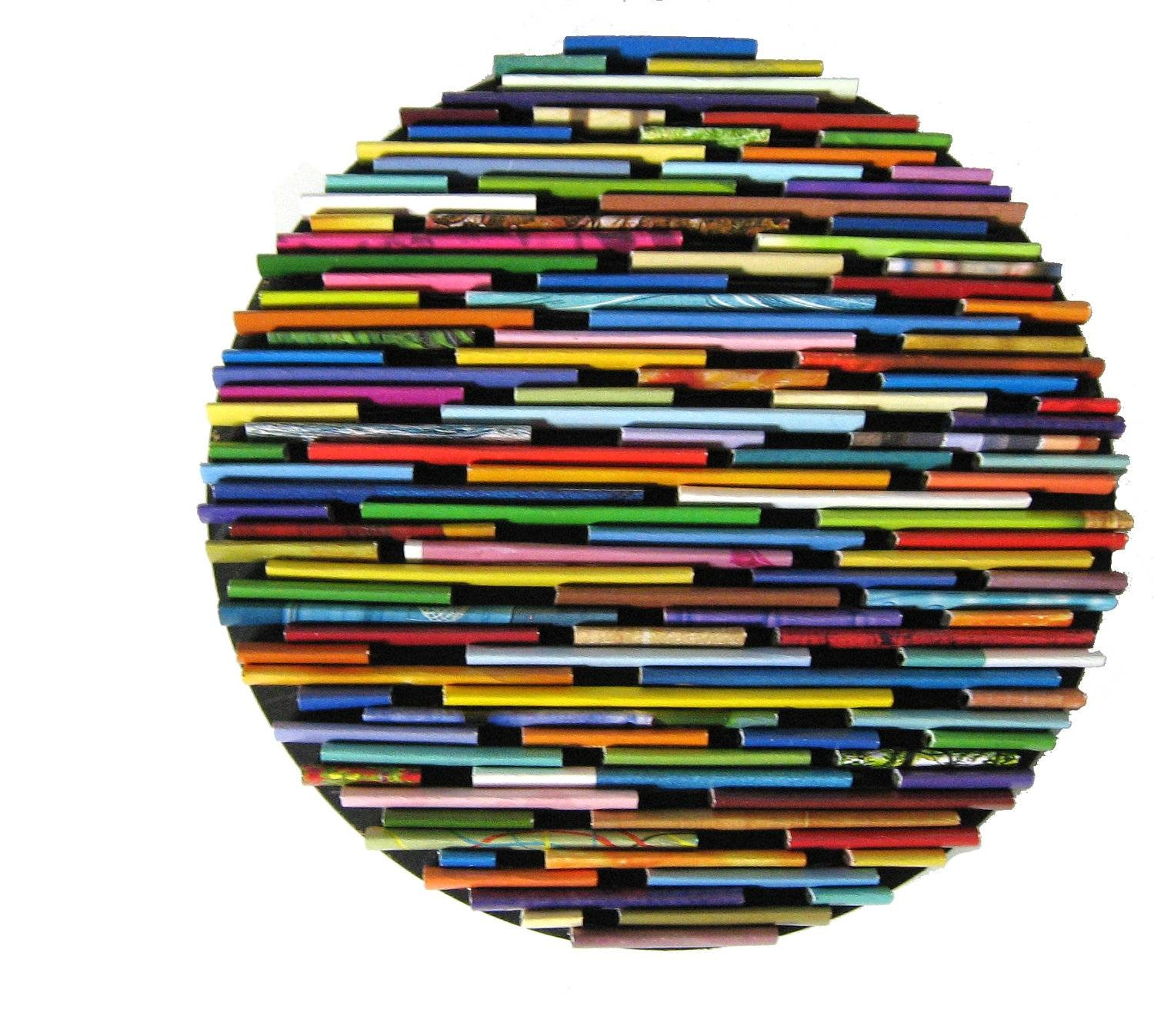 Round Wall Art Made From Recycled Magazines Colorful Unique Intended For Most Up To Date Recycled Wall Art (View 25 of 30)