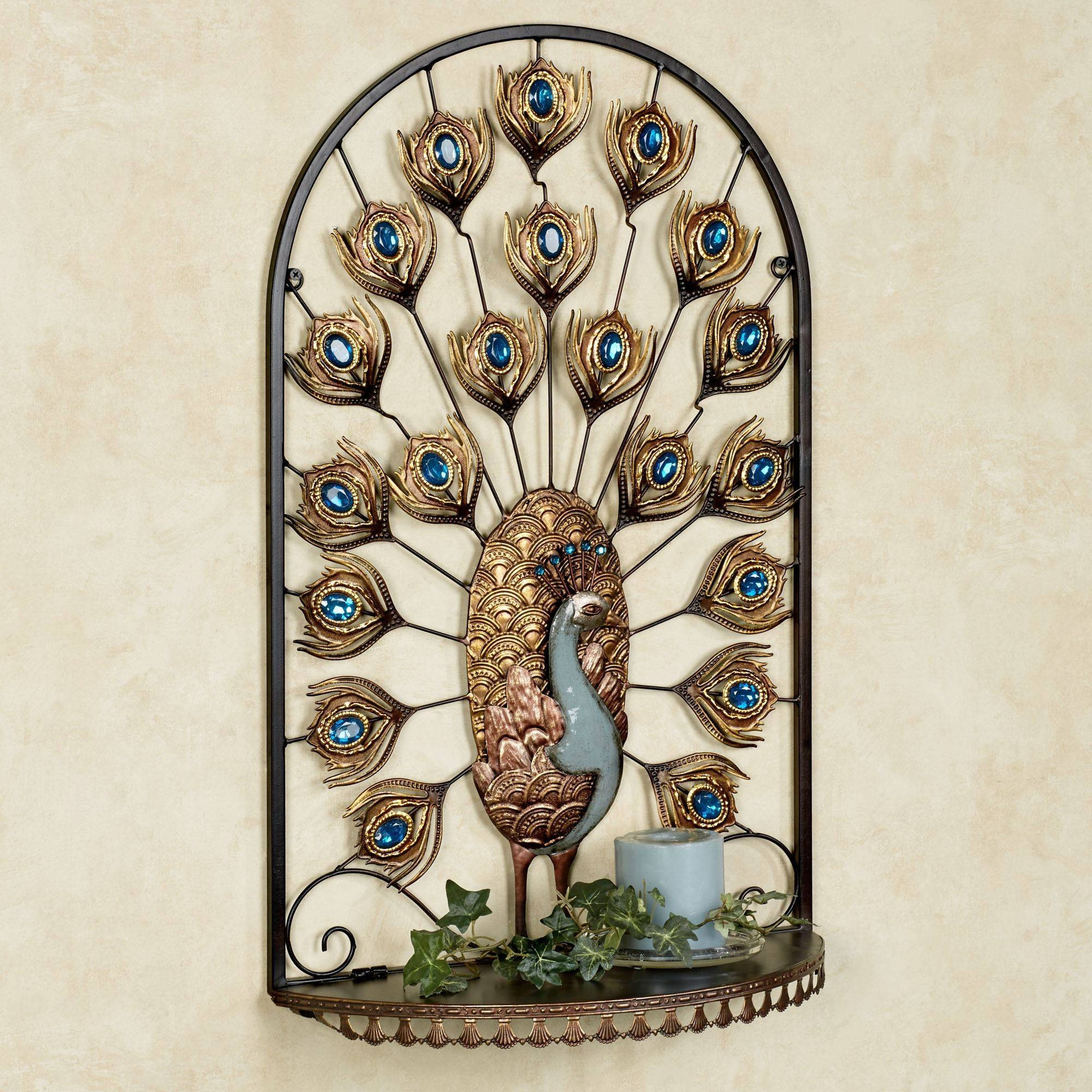 Royal Peacock Jeweled Wall Shelf Throughout 2018 Jeweled Peacock Wall Art (View 20 of 20)