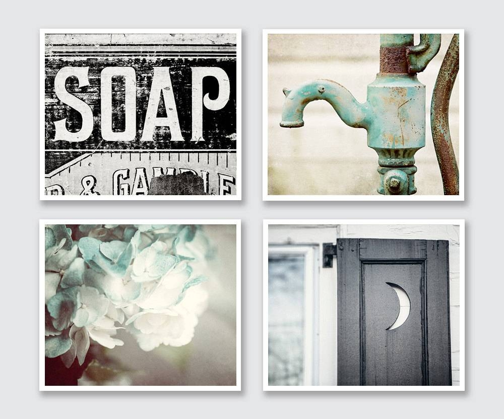 Rustic Bathroom Decor Set Of 4 Prints Or Canvas Art Bathroom Intended For 2017 Metal Wall Art For Bathroom (Gallery 22 of 25)