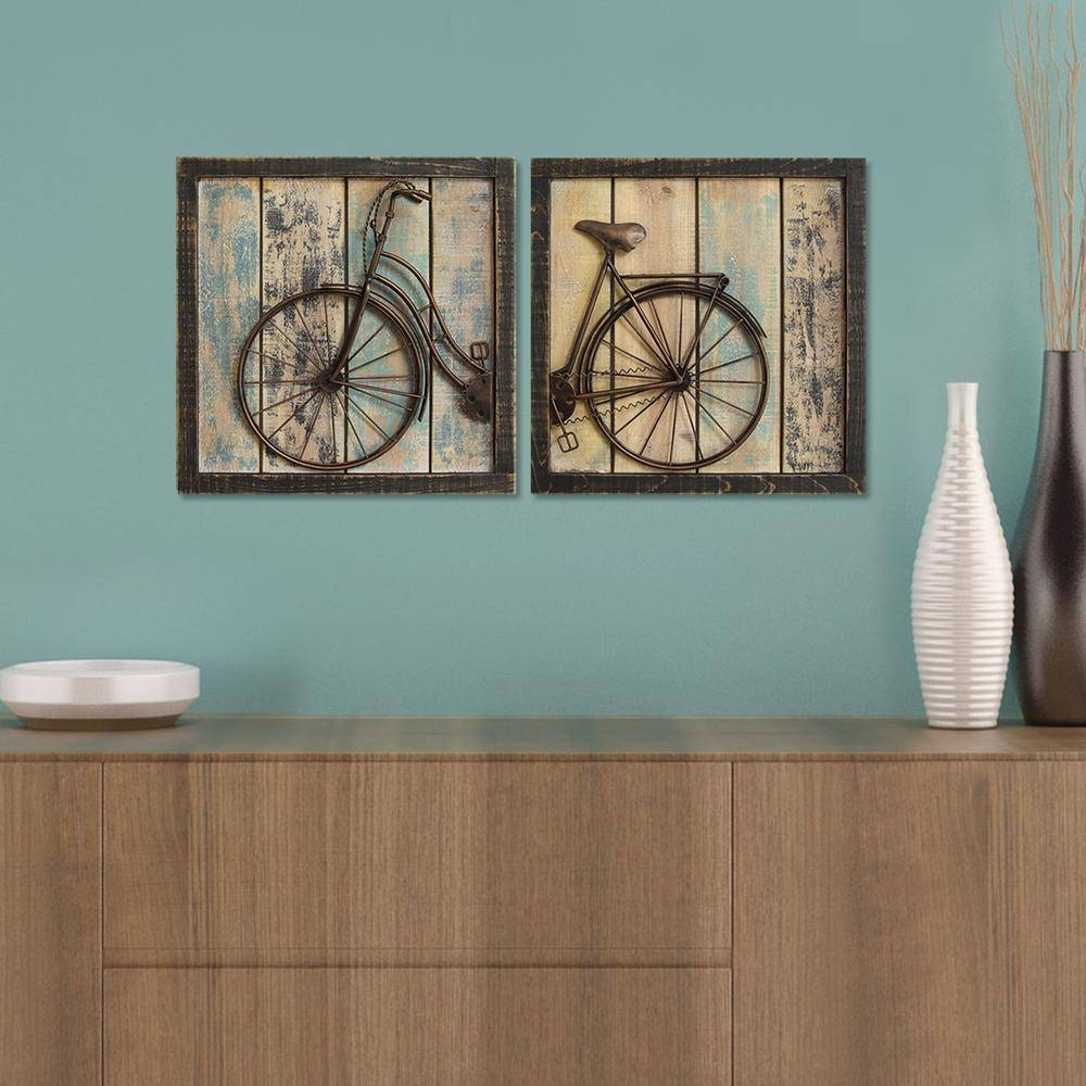 Rustic Bicycle Wall Decor (Set Of 2) S01209 – The Home Depot Intended For 2017 Bicycle Wall Art Decor (Gallery 17 of 20)