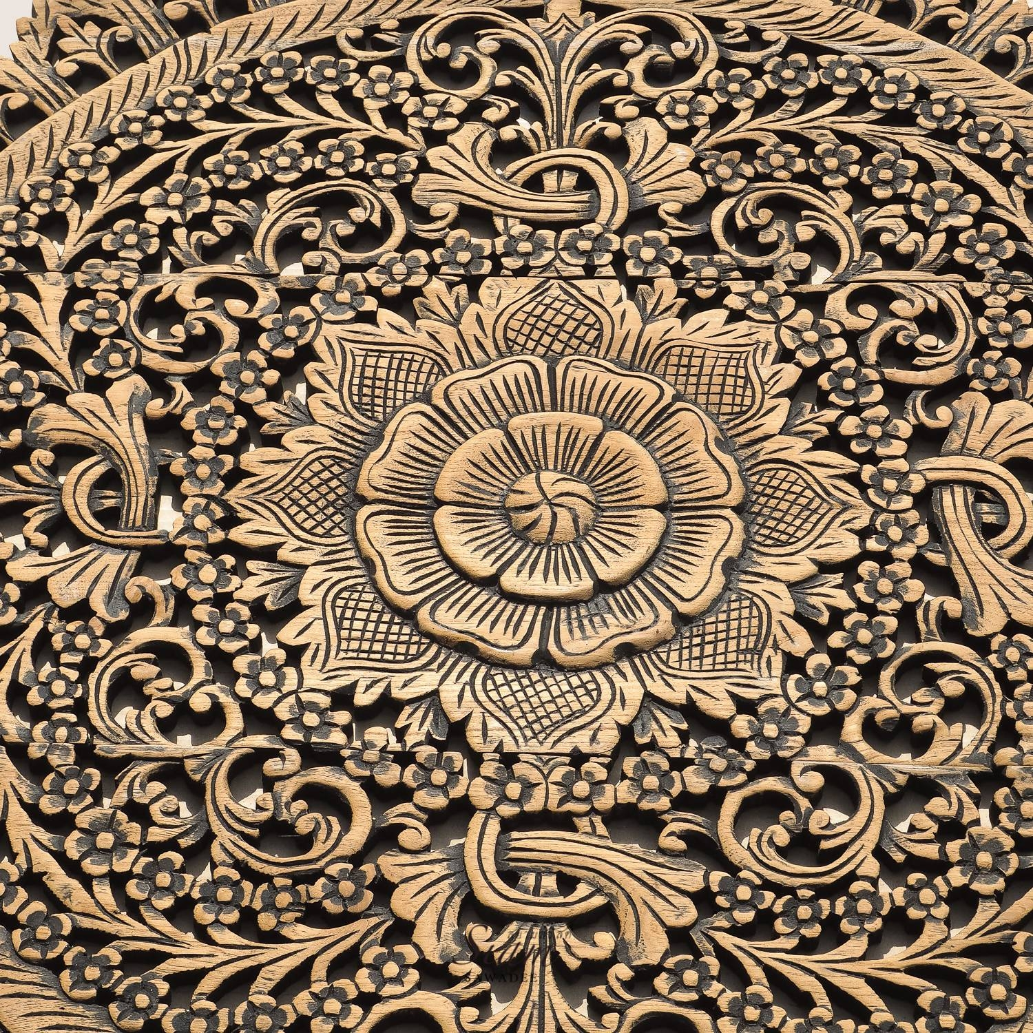 Rustic Carved Wall Art Panel Asian Home Decor – Siam Sawadee Within Latest Wood Wall Art Panels (View 11 of 20)
