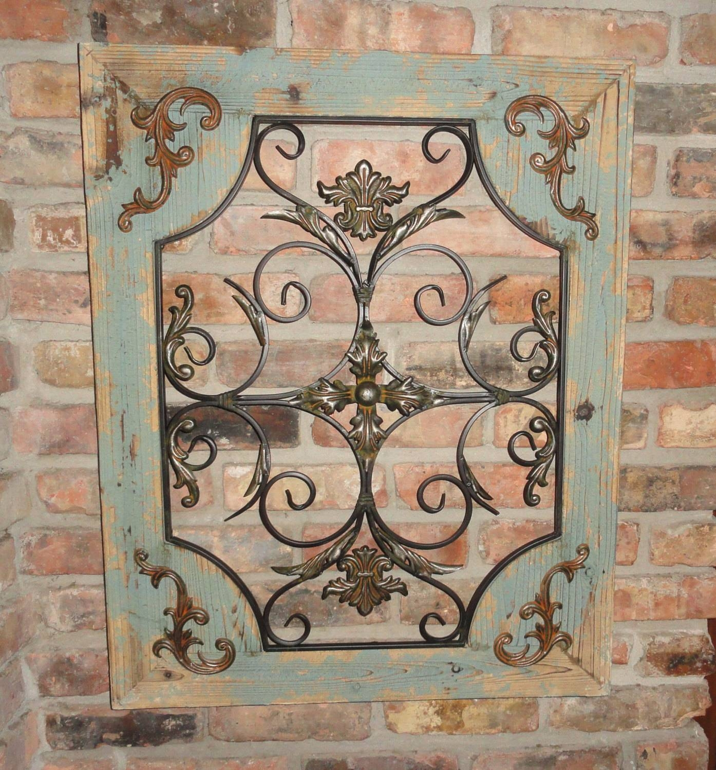 Rustic Turquoise Wood & Metal Wall Decor Cottage Chic Shabby Intended For 2018 Country Metal Wall Art (View 18 of 30)