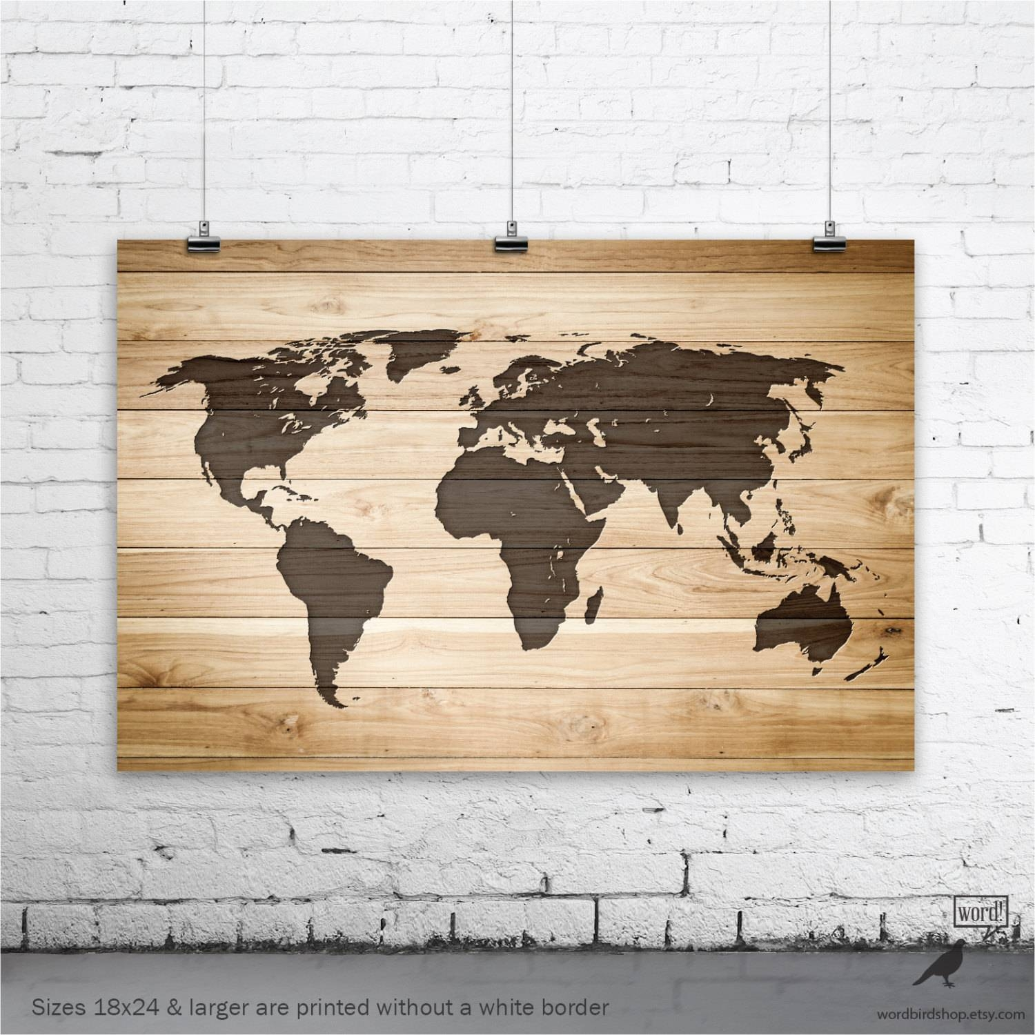 Rustic Wood Large World Map Poster Wood Wall Art Print Gifts Within Best And Newest World Map Wood Wall Art (Gallery 7 of 20)