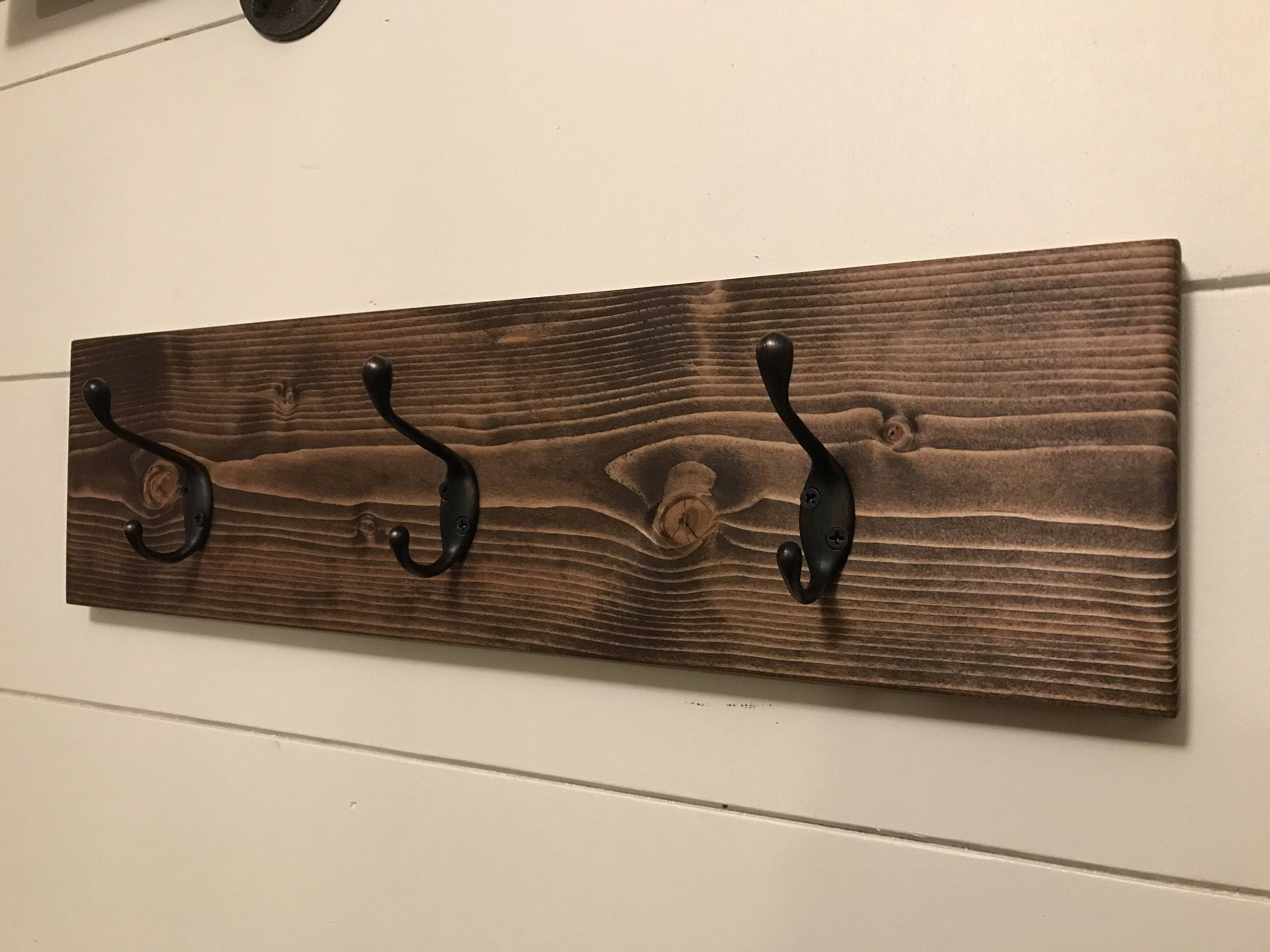 Rustic Wooden Coat Rack / Wood Wall Hooks / Entryway Storage, Wall Within Newest Wall Art Coat Hooks (View 18 of 20)