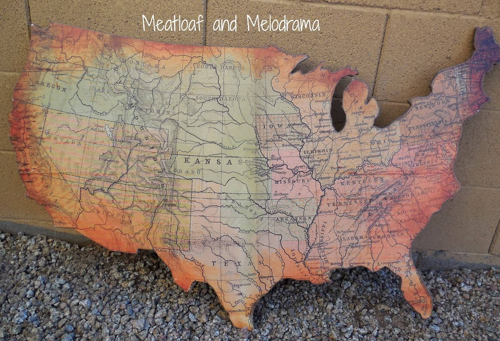 Rustic Wooden Wall Art – Meatloaf And Melodrama Within Newest United States Map Wall Art (View 6 of 20)