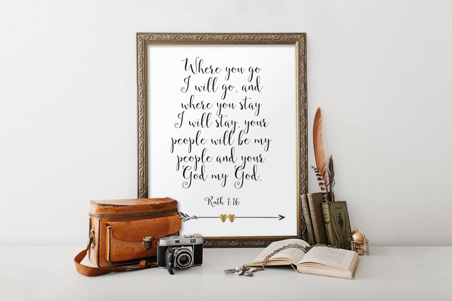 Ruth 1:16 Bible Verse Print Art Scripture Print Wedding For Best And Newest Bible Verses Framed Art (View 10 of 25)