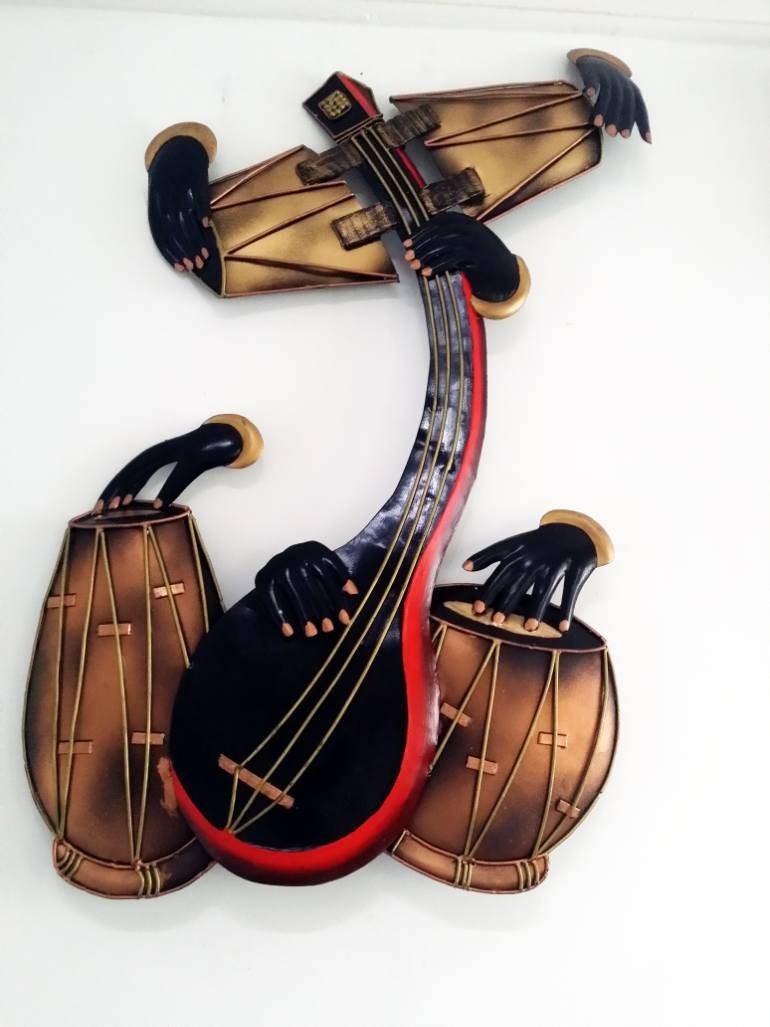 Saatchi Art: Ethnic Indian Music Instruments Sculpturemetal With Regard To Most Up To Date Musical Instrument Wall Art (View 18 of 25)