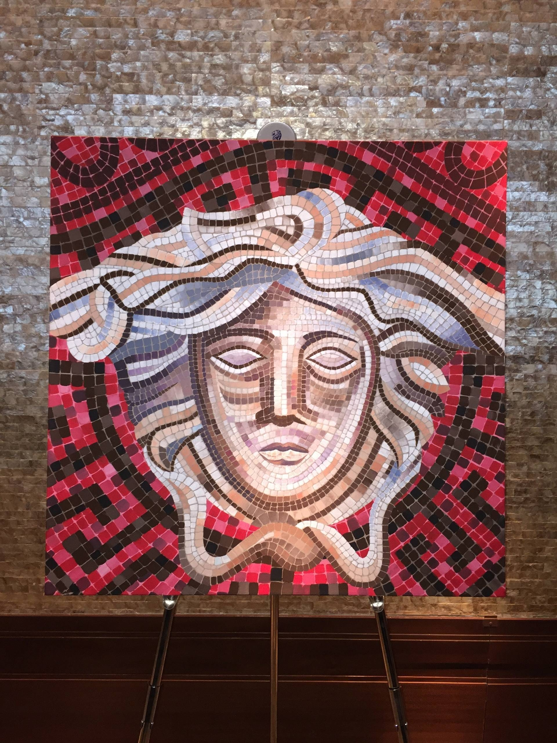 Saatchi Art: Versace Medusa Mosaic Style Painting Painting Within Current Versace Wall Art (View 4 of 20)