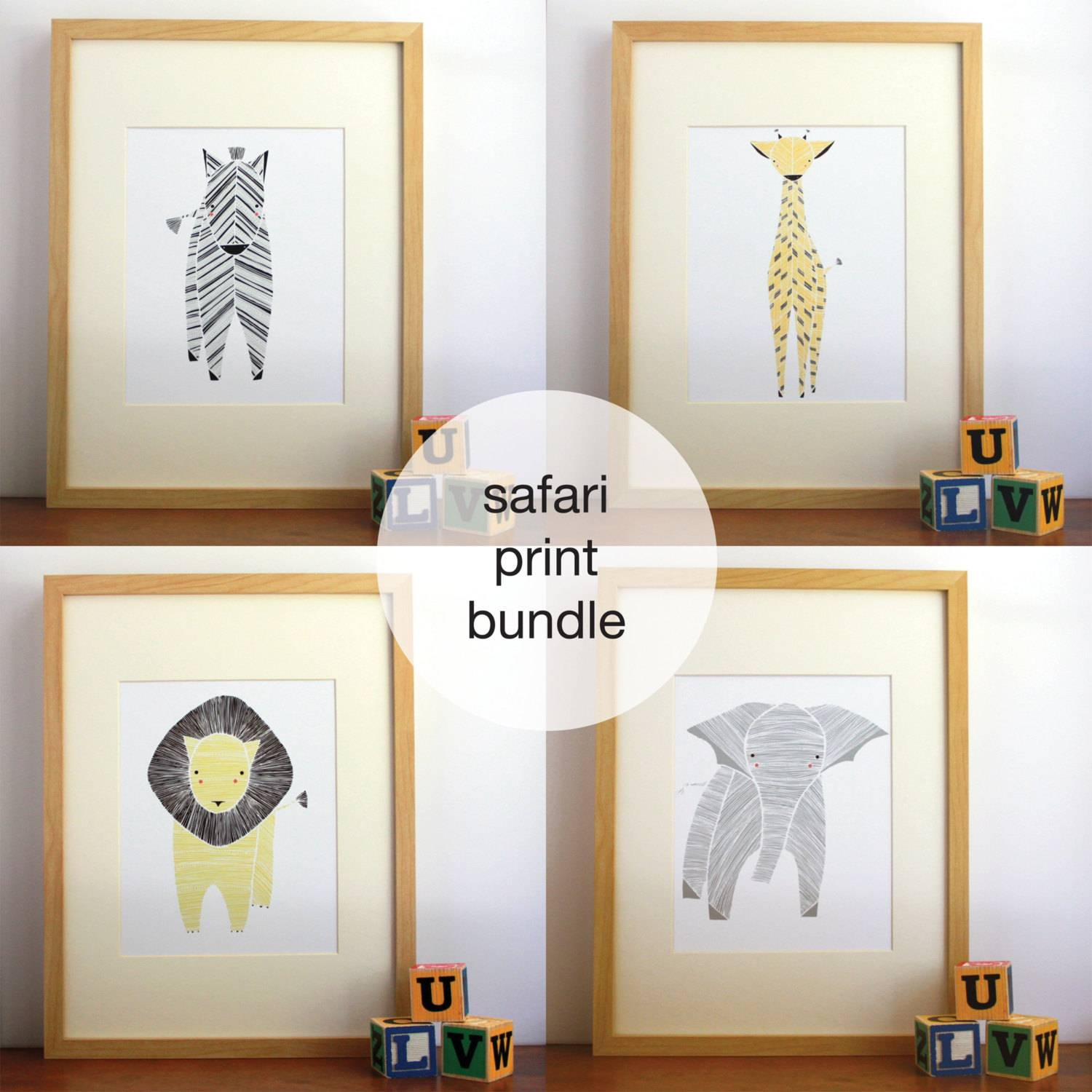Safari Nursery Art Gender Neutral Baby Animal Prints With 2017 Etsy Childrens Wall Art (View 18 of 20)