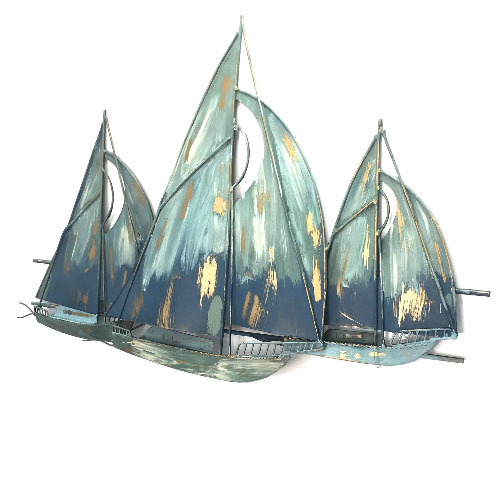 Sail Boats Metal Wall Art Blue 81Cm Within Most Recently Released Boat Wall Art (View 17 of 20)