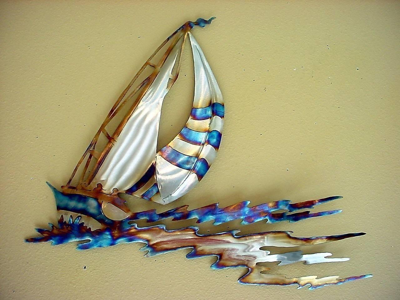 Sailboat Racing Sailor Sailing Stainless Steel Metal Wall Art Throughout Latest Metal Sailboat Wall Art (View 1 of 30)