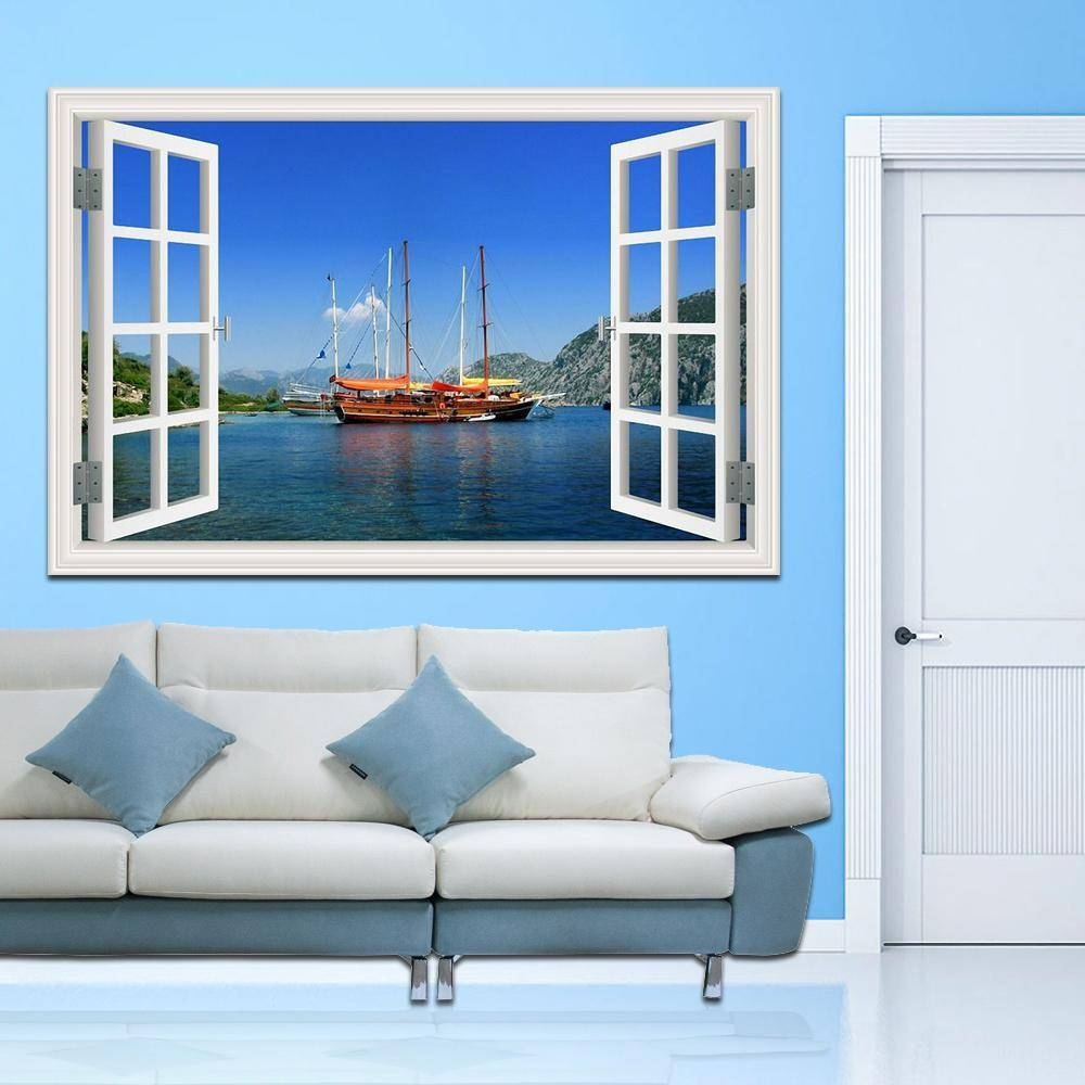 Sailing Boat On The Sea High Quality 3D Wall Art Removable Wall With Regard To 2018 3D Wall Art For Living Room (View 18 of 20)