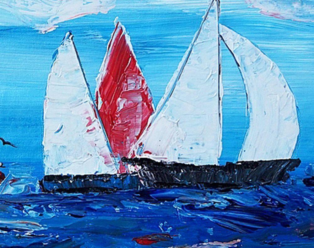 Sailing Boat Painting, Original Wall Art, Seascape Painting, Wall In 2017 Boat Wall Art (View 18 of 20)