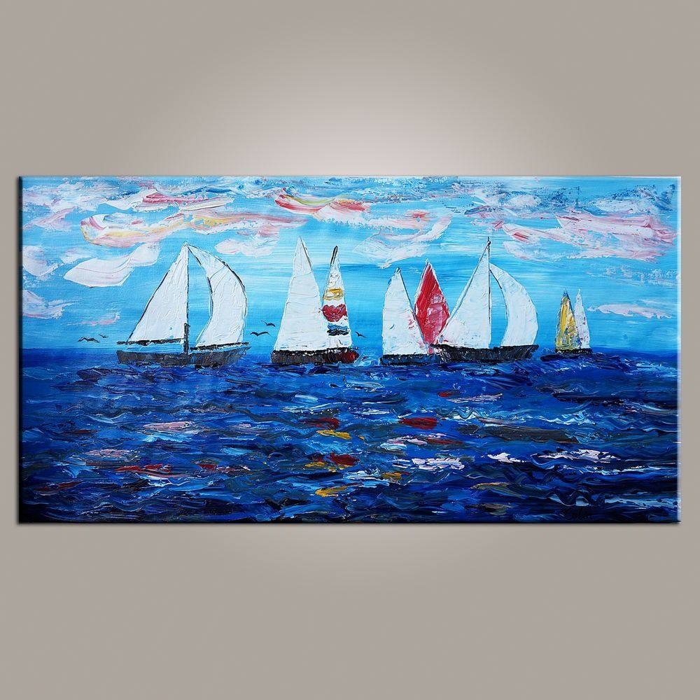 Sailing Boat Painting, Original Wall Art, Seascape Painting, Wall Inside Most Current Boat Wall Art (View 19 of 20)