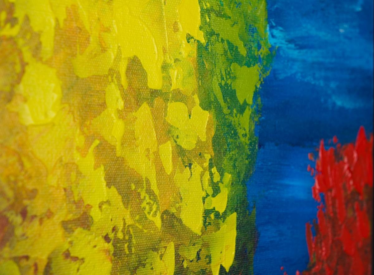 "Sailingqiqigallery 12"" X 36"" Original Modern Abstract In Most Recent Yellow And Blue Wall Art (View 9 of 20)"