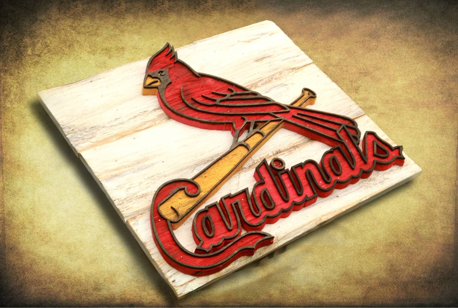 Saint Louis Cardinals Handmade Distressed Wood Sign, Vintage, Art Within Current Vintage Baseball Wall Art (View 14 of 30)
