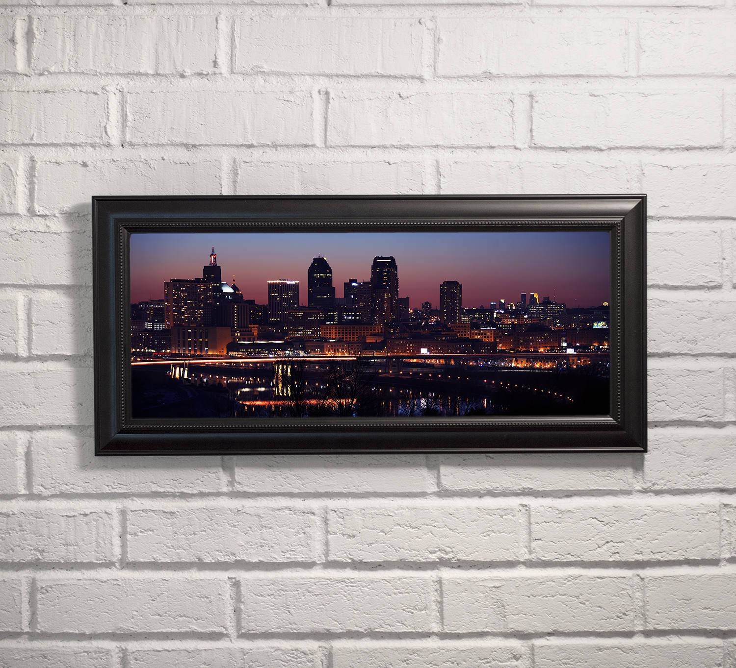 Saint Paul And Minneapolis Skylines — Framed Print, Ready To Hang With Most Recently Released Minneapolis Wall Art (View 17 of 20)