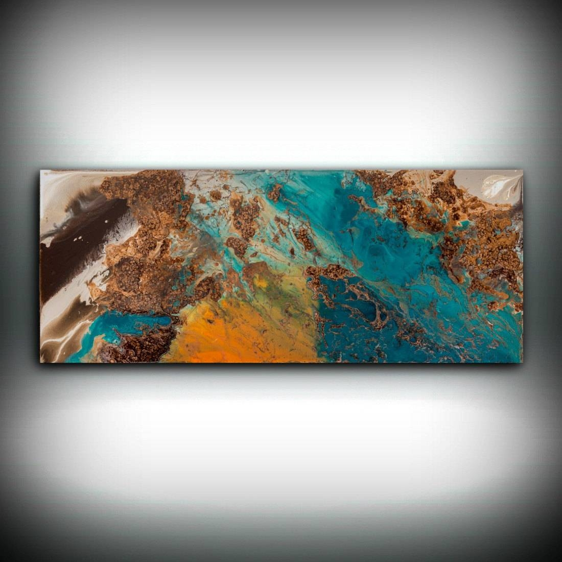 Sale Blue And Copper Art, Wall Art Prints Fine Art Prints Abstract Within Most Recent Orange And Turquoise Wall Art (View 18 of 20)