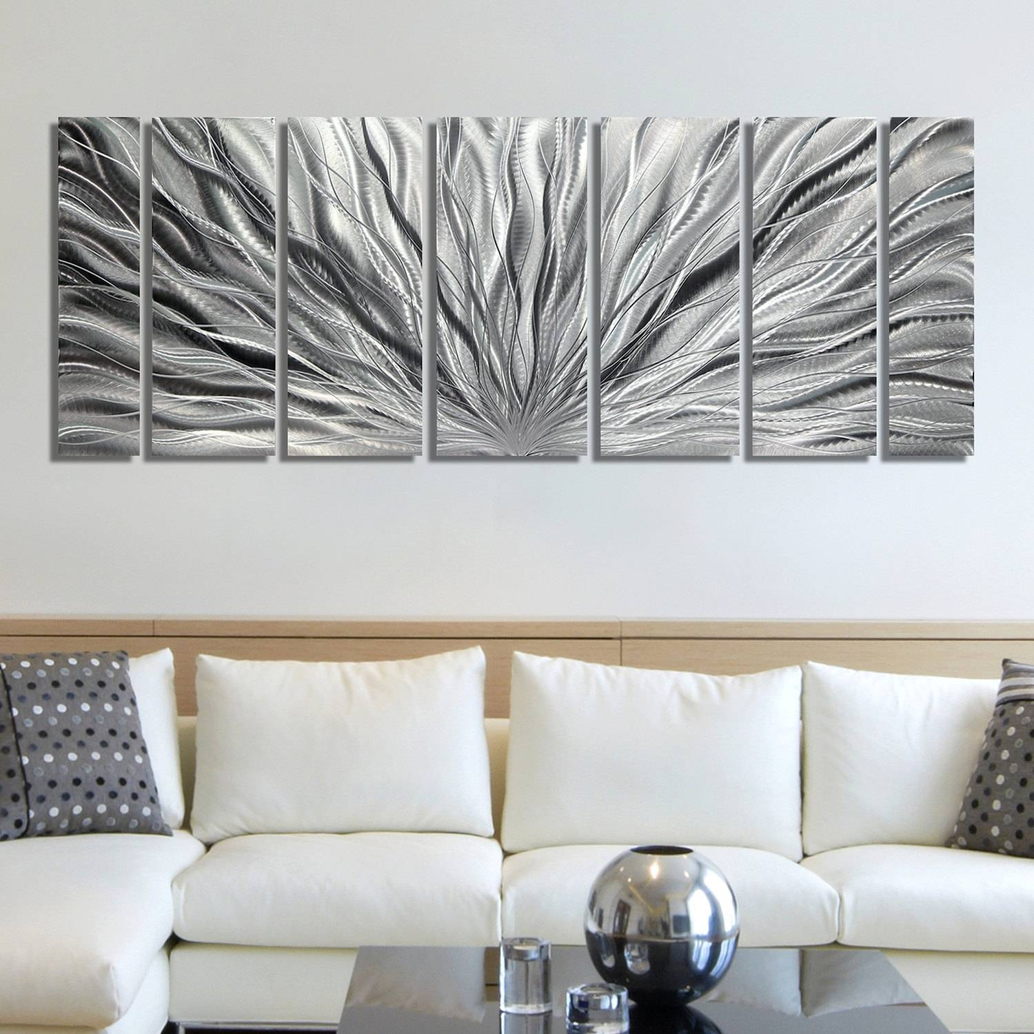 Sale Large Multi Panel Metal Wall Art In All Silver In Most Current Large Abstract Metal Wall Art (View 18 of 20)