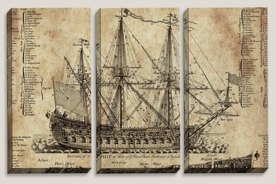 Sale Old Ship Blueprint Canvas Art Nautical Map Boys Within Current Nautical Canvas Wall Art (Gallery 5 of 20)