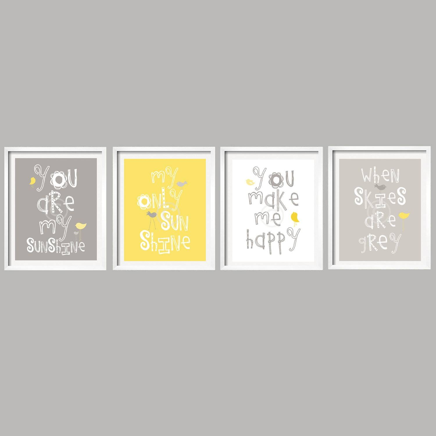 Sale Yellow And Gray Wall Art Nursery Decor Prints You Are Throughout Most Recent Yellow Grey Wall Art (View 10 of 15)