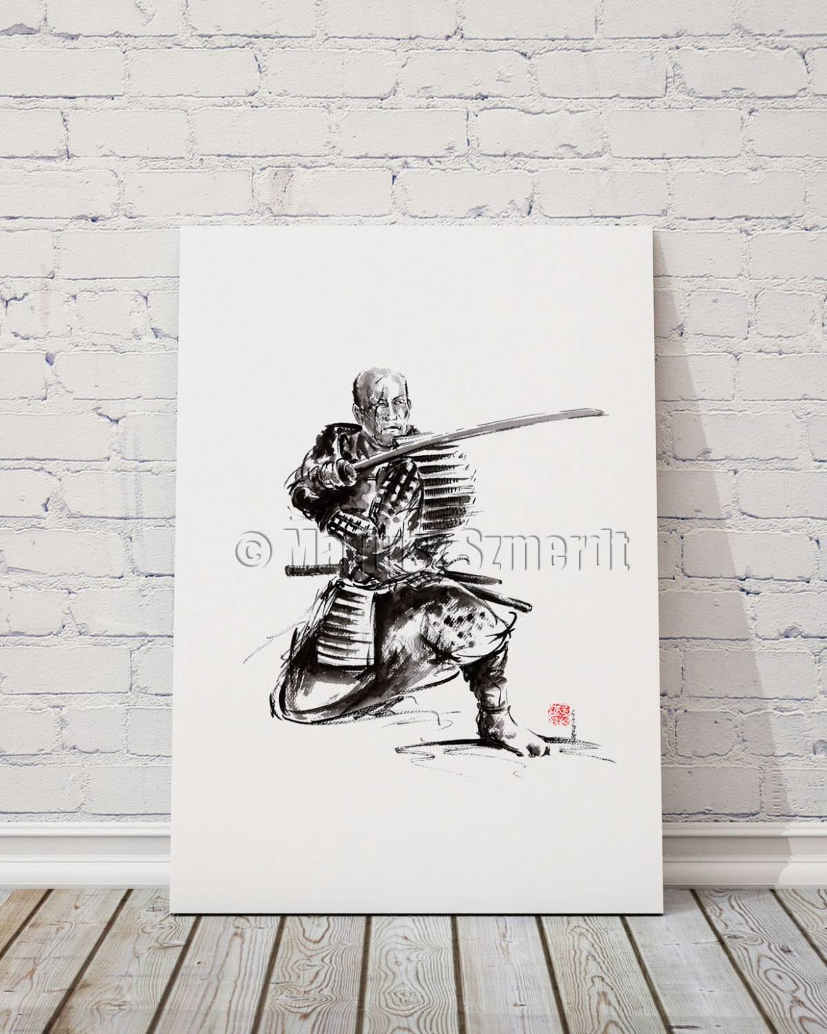 Samurai Art Print Samurai Sword Japan Poster Japan Within Best And Newest Samurai Wall Art (View 9 of 20)