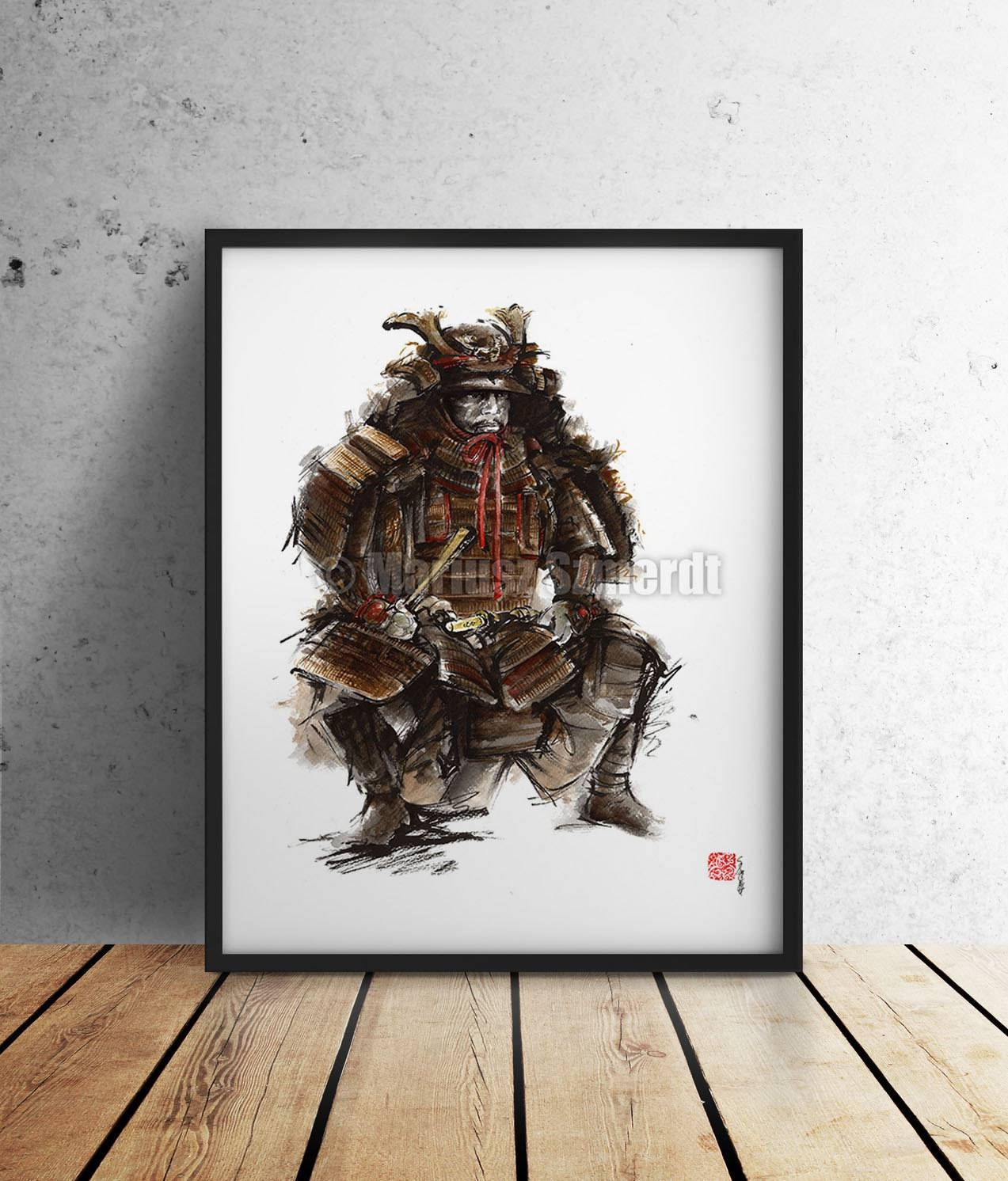Samurai Japanese Painting Art Warrior Armor Artwork Japanese Pertaining To Most Up To Date Samurai Wall Art (View 18 of 20)
