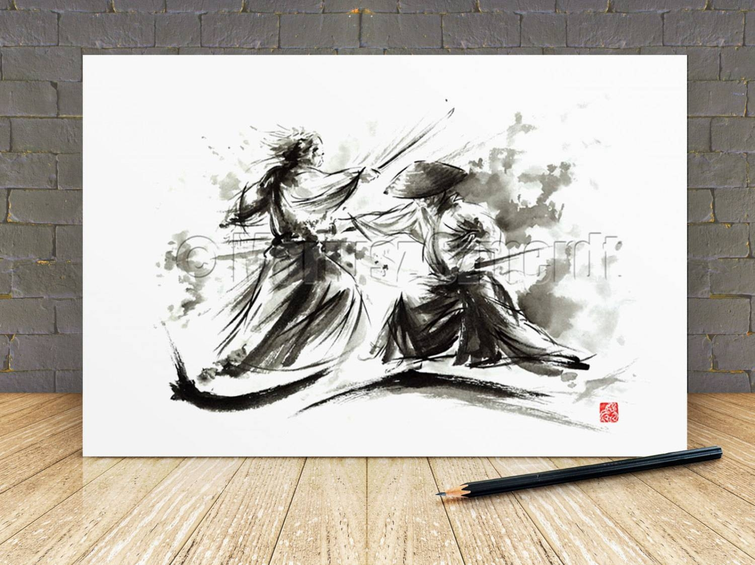 Samurai Wall Decor Poster Japanese Sword Warrior Artwork Pertaining To 2017 Samurai Wall Art (View 12 of 20)