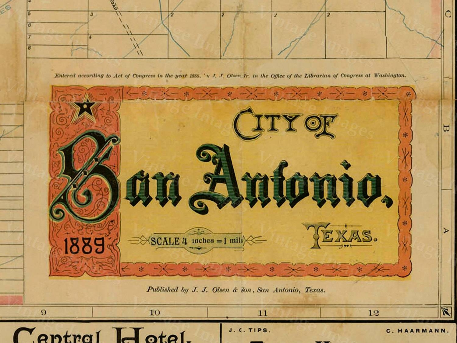 San Antonio Map Texas Map Vintage 1889 Old Map Of San Antonio Pertaining To Recent Antique Map Wall Art (View 14 of 20)