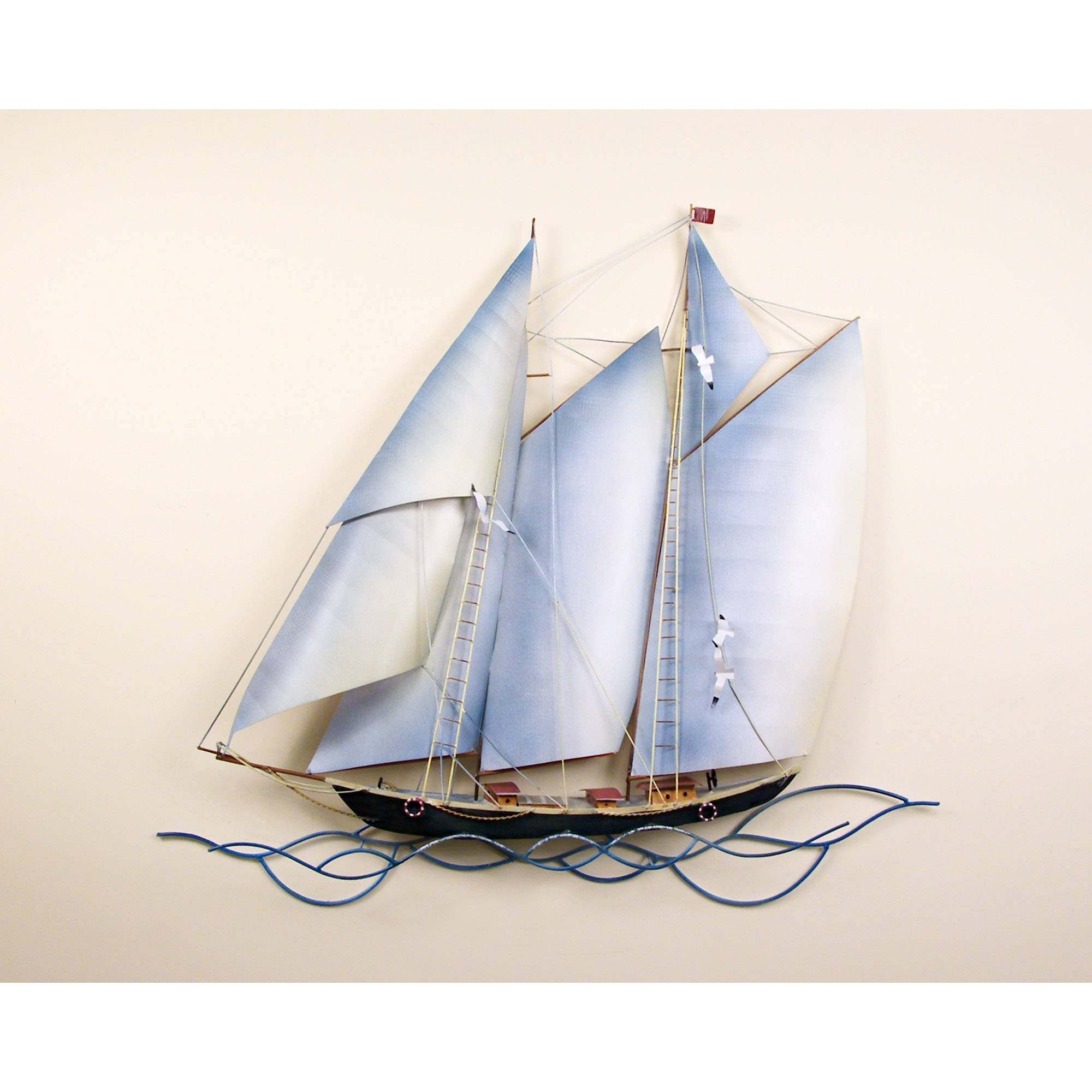 Schooner Under Sail, Single With Regard To Most Current Sailboat Metal Wall Art (View 13 of 30)
