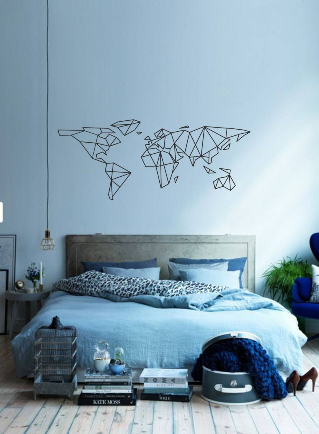 Science Art Geometric World Map Vinyl Wall Decal Sticker For Most Up To Date Classroom Vinyl Wall Art (View 12 of 30)