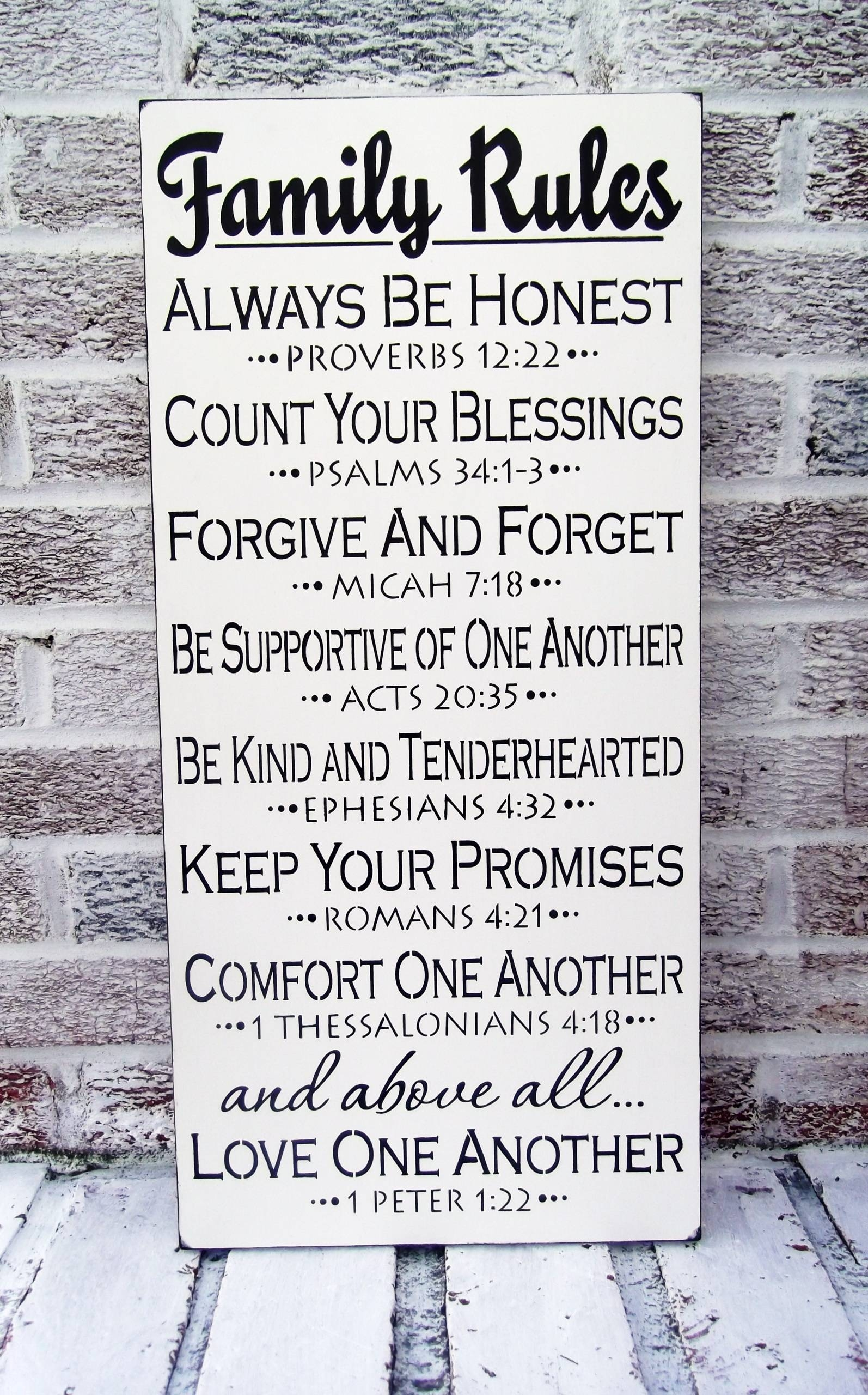 "Scripture Art, Christian Art ""family Rules"" Sign – Large Wall Art Pertaining To 2017 Large Christian Wall Art (View 23 of 25)"