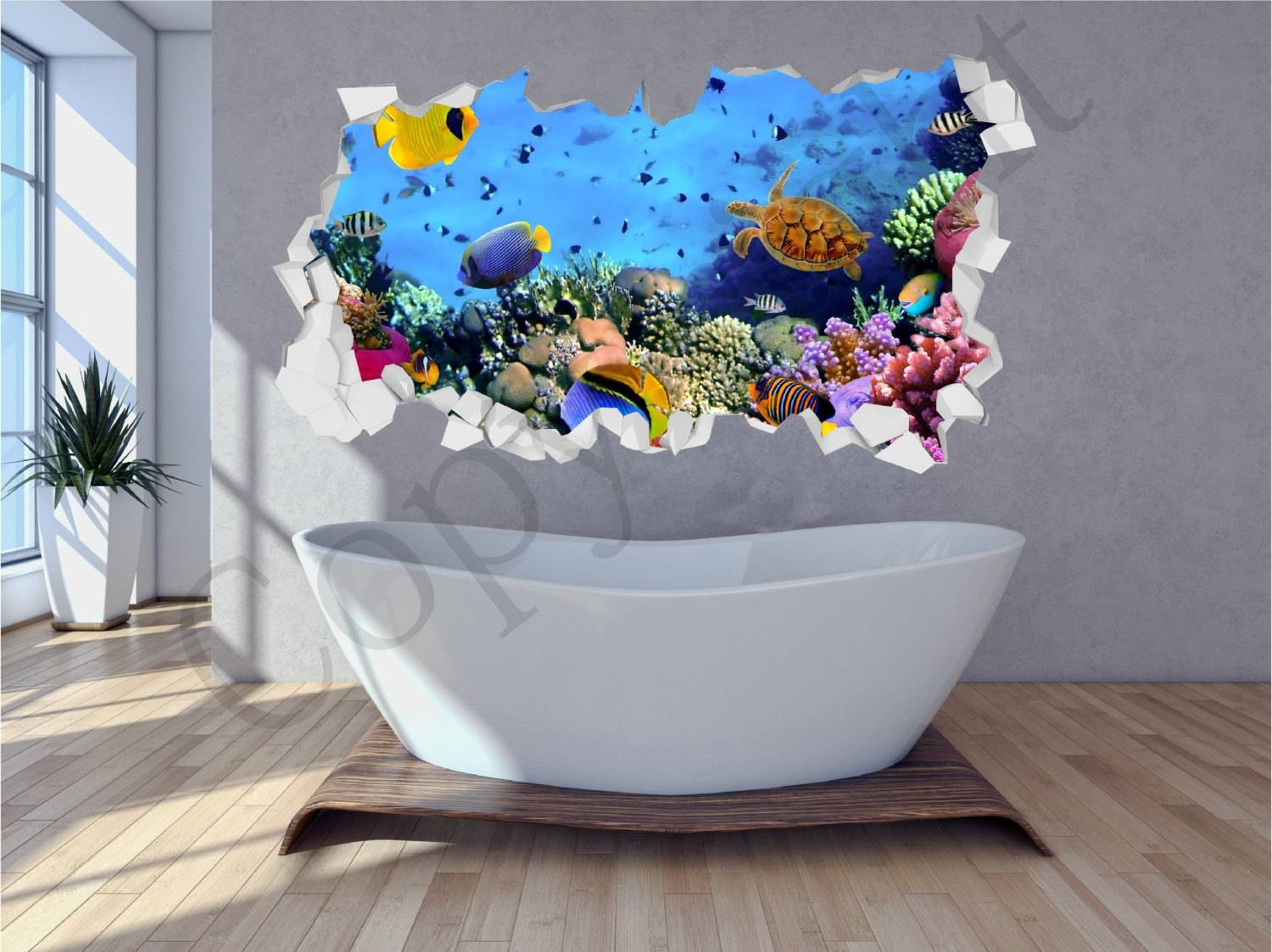 Sea Aquarium Fish Bathroom Under Water Crumbled Wall 3d Huge Pertaining To Latest Fish 3d Wall Art (View 12 of 20)