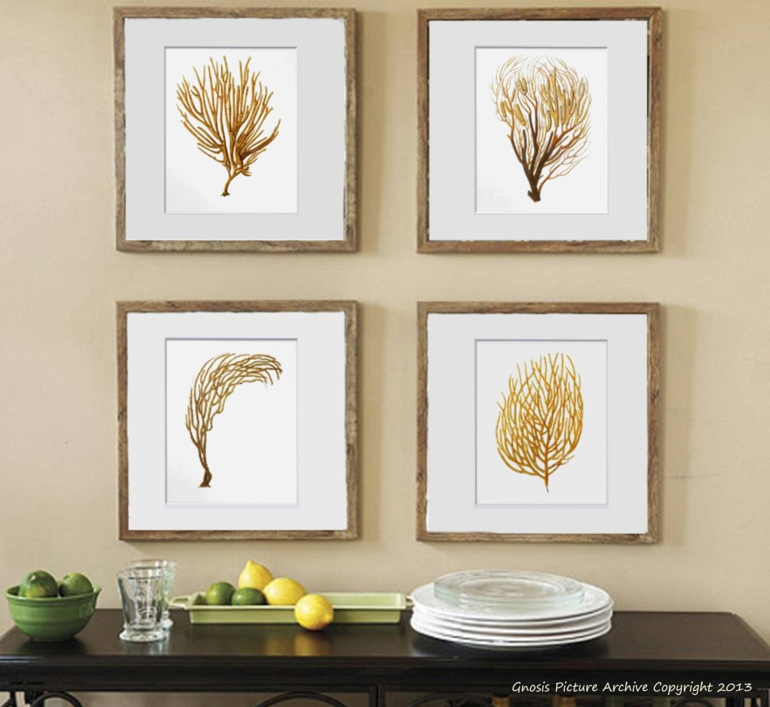 Sea Fan Art Print Sea Coral Prints Set Of 4 Beach Wall Decor Within Most Recently Released Wall Art Print Sets (View 15 of 20)