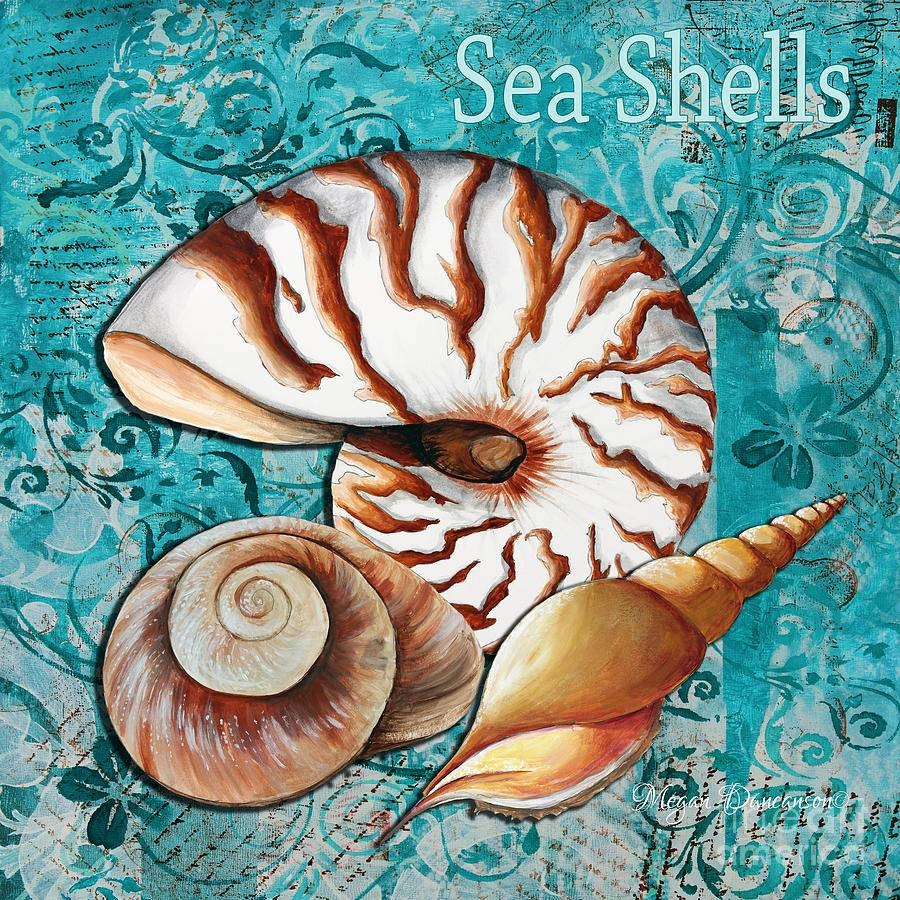 Sea Shells Original Coastal Painting Colorful Nautilus Art Throughout Most Recently Released Megan Duncanson Metal Wall Art (View 18 of 25)