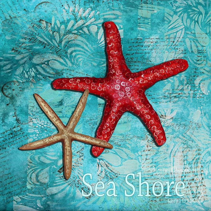 Sea Shore Original Coastal Painting Colorful Starfish Artmegan Throughout Most Recently Released Megan Duncanson Metal Wall Art (View 21 of 25)