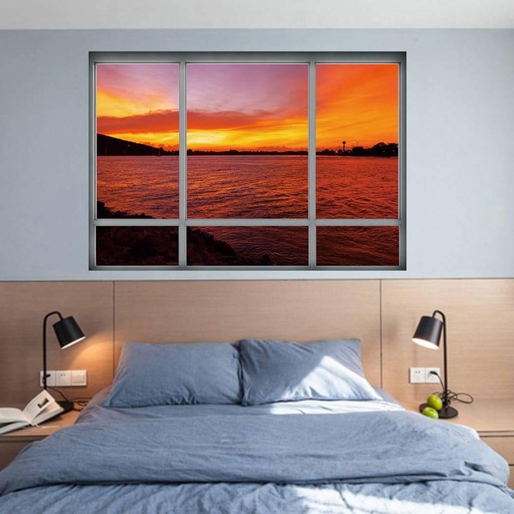Sea Sunset Window Removable 3D Wall Art Sticker, Dark Auburn,  (View 18 of 30)