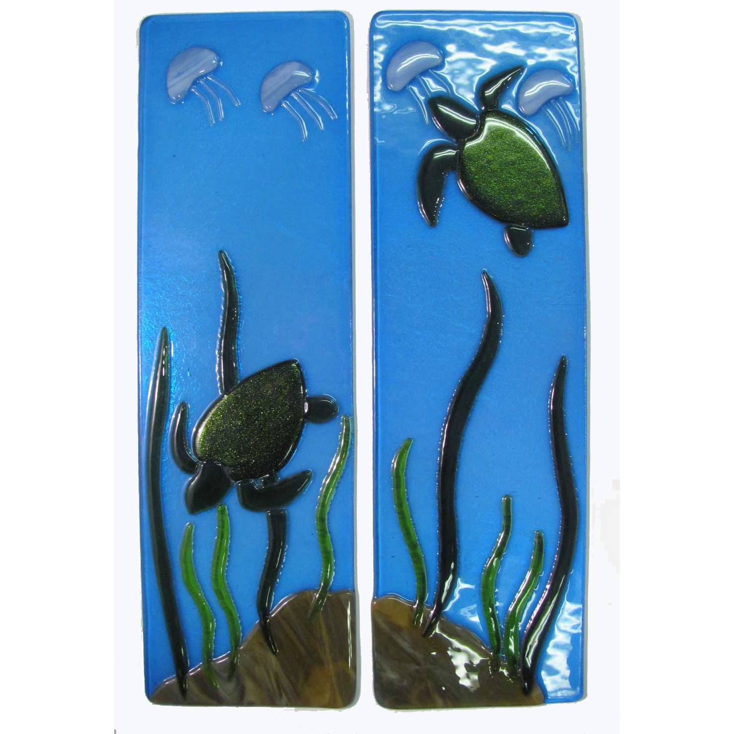 Sea Turtle Fused Glass Wall Panels – Mill Creek Glass Pertaining To 2018 Fused Glass Wall Art Panels (View 23 of 25)
