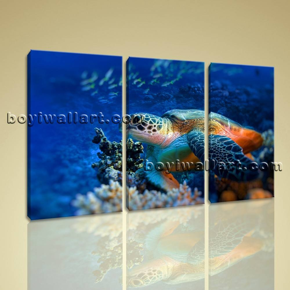 Sea Turtle Multi Canvas Wall Art Picture Print Underwater Framed Throughout Most Recently Released Multi Canvas Wall Art (View 15 of 20)