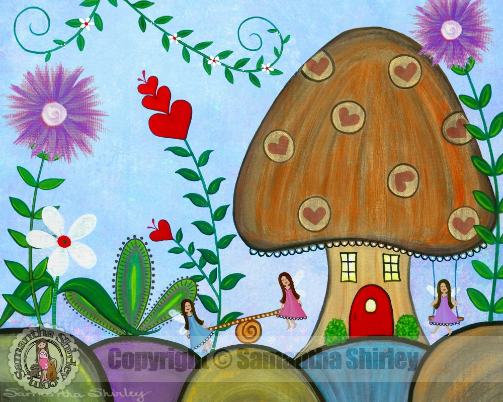 Secret Garden – Kids Art Canvas Panel Children's Decor – Fairy With Latest Mushroom Wall Art (View 17 of 20)