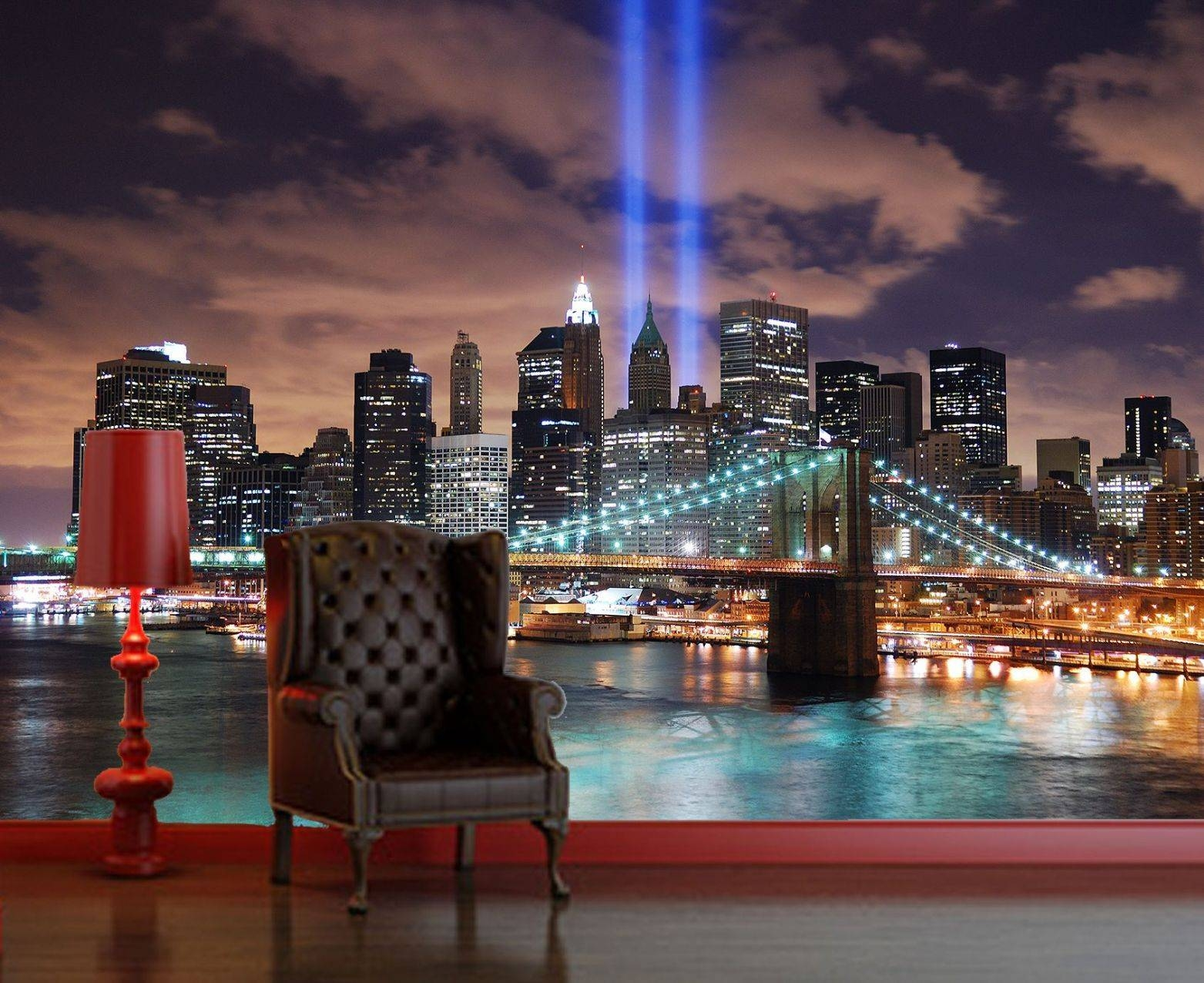 Self Adhesive New York Lights Decorating Photo Wall Mural Regarding Most Popular New York 3D Wall Art (View 17 of 20)