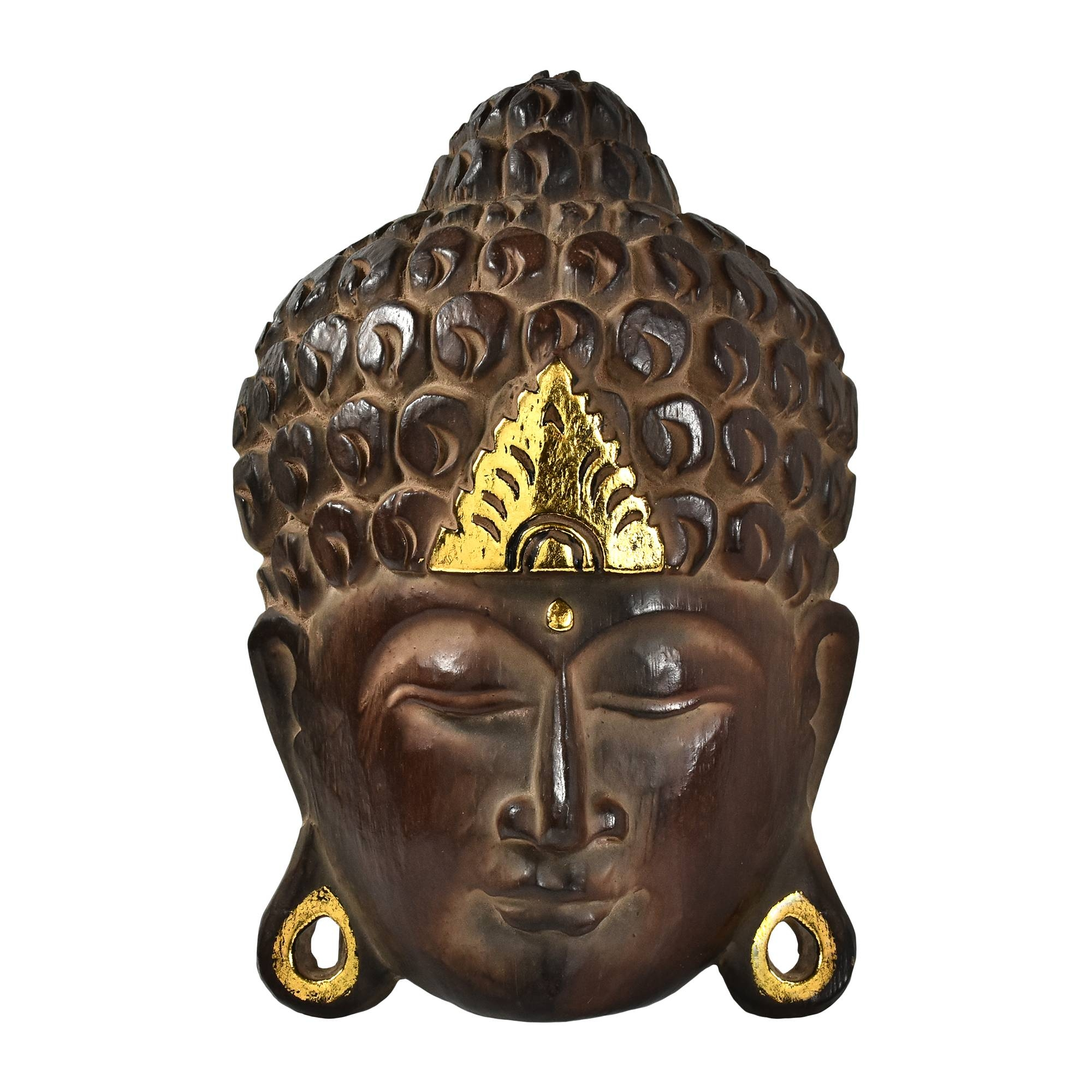 Serenity Natural Shine Buddha Wooden Mask Wall Art – Aeravida Regarding 2018 Buddha Wood Wall Art (View 11 of 20)